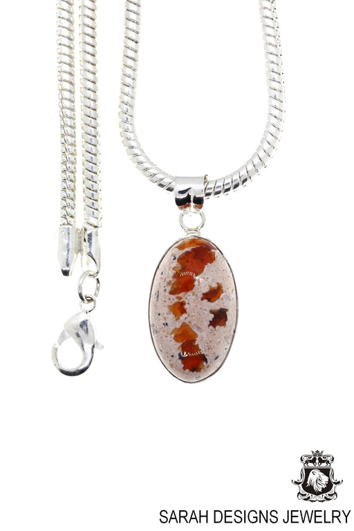 Fire Opal 925 Sterling Silver Pendant 4mm Snake Chain O29