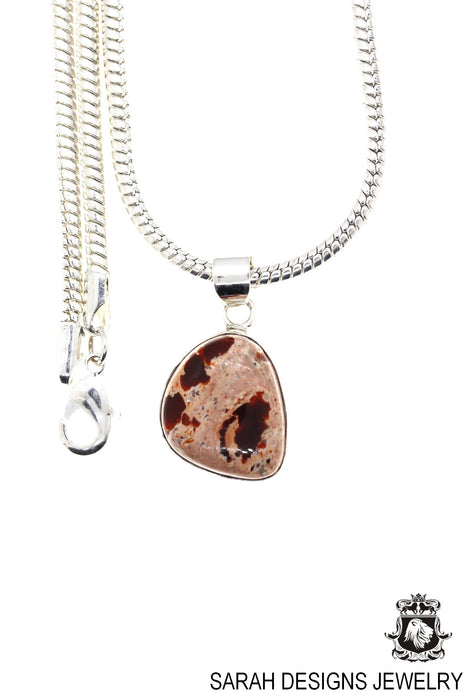 Fire Opal 925 Sterling Silver Pendant 4mm Snake Chain O39