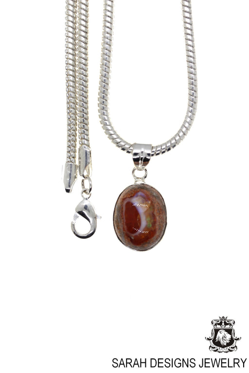 Fire Opal 925 Sterling Silver Pendant 4mm Snake Chain O42