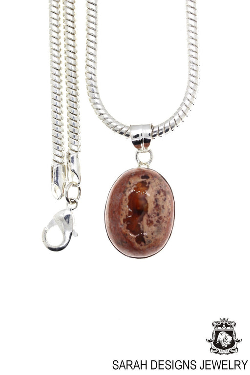 Fire Opal 925 Sterling Silver Pendant 4mm Snake Chain O56