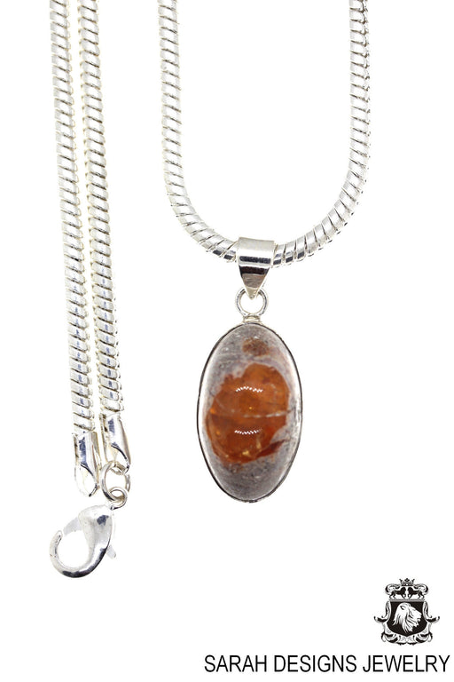 Fire Opal 925 Sterling Silver Pendant 4mm Snake Chain O61