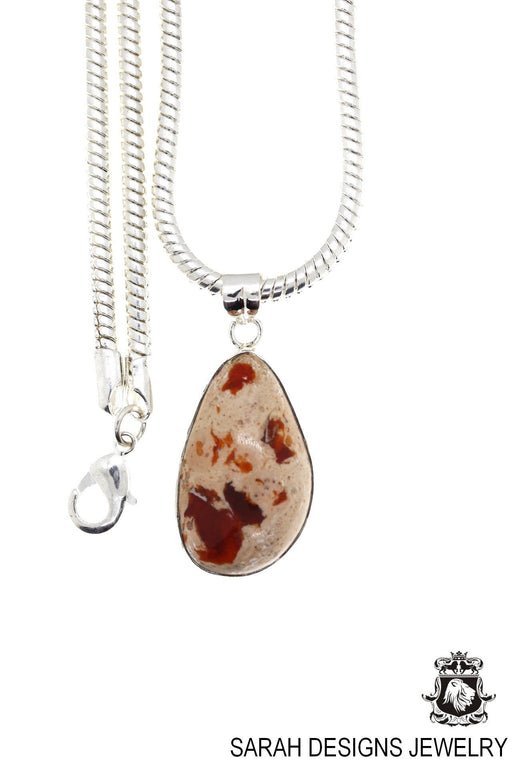 Fire Opal 925 Sterling Silver Pendant 4mm Snake Chain O75