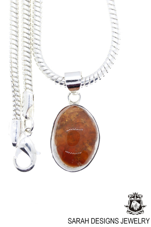 Fire Opal 925 Sterling Silver Pendant 4mm Snake Chain O83