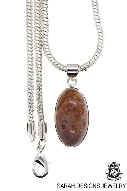 Fire Opal 925 Sterling Silver Pendant 4mm Snake Chain O84
