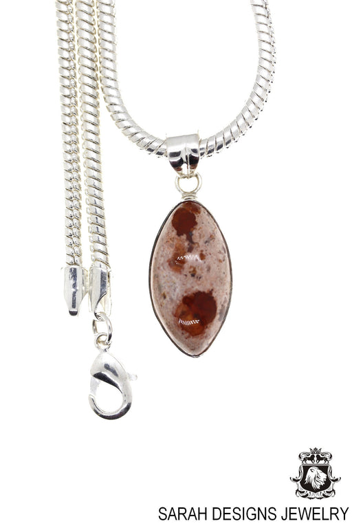 Fire Opal 925 Sterling Silver Pendant 4mm Snake Chain O92