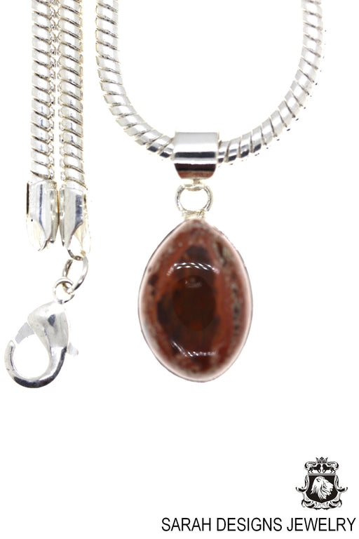 Fire Opal 925 Sterling Silver Pendant 4mm Snake Chain O94