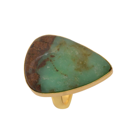 Size 9.5 - Size 11 Adjustable Boulder Chrysoprase 24K Gold Plated Ring GPR1130