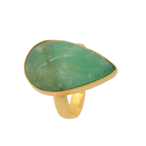 Size 9.5 - Size 11 Adjustable Boulder Chrysoprase 24K Gold Plated Ring GPR1135