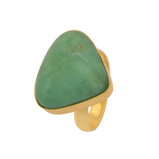 Size 9.5 - Size 11 Adjustable Boulder Chrysoprase 24K Gold Plated Ring GPR1138