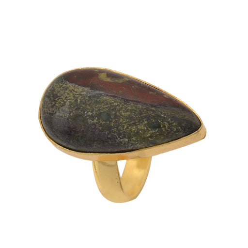 Size 6.5 - Size 8 Adjustable Dragon Blood Jasper 24K Gold Plated Ring GPR1146