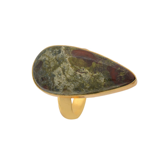 Size 9.5 - Size 11 Adjustable Dragon Blood Jasper 24K Gold Plated Ring GPR1157