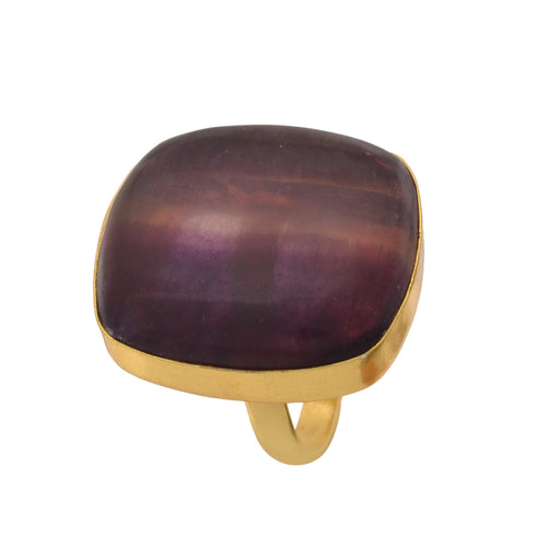 Size 8.5 - Size 10 Adjustable Fluorite 24K Gold Plated Ring GPR1158