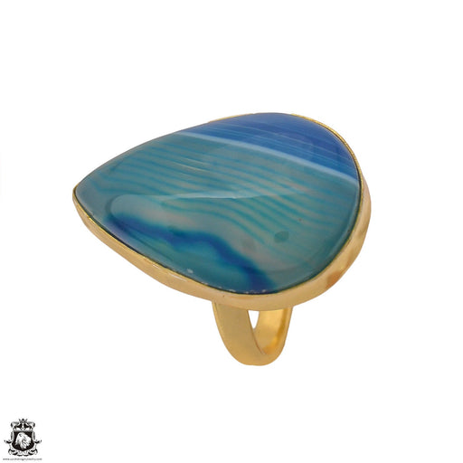 Size 9.5 - Size 11 Adjustable Blue Banded Agate 24K Gold Plated Ring GPR1168