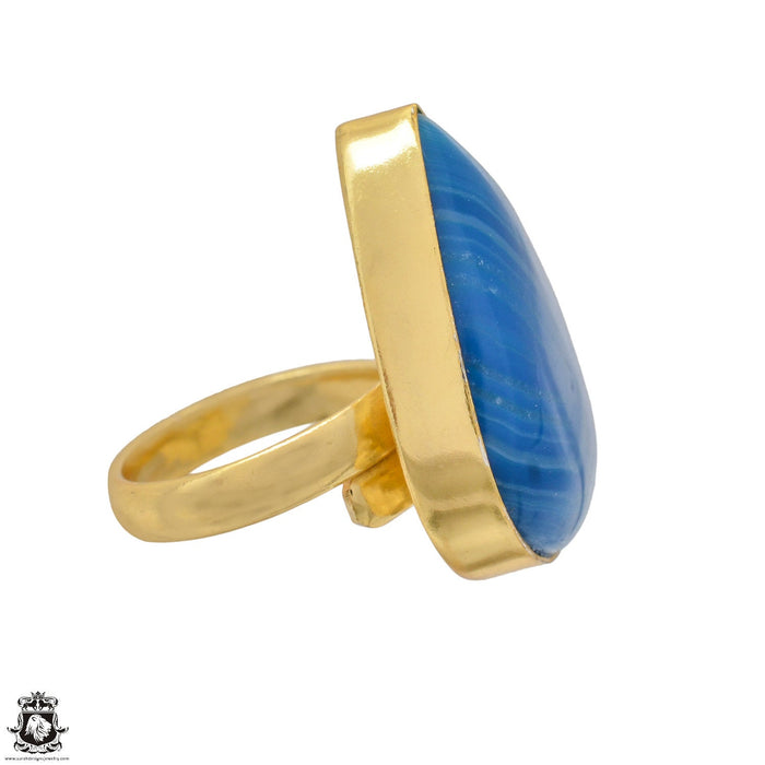 Size 6.5 - Size 8 Adjustable Blue Banded Agate 24K Gold Plated Ring GPR1169