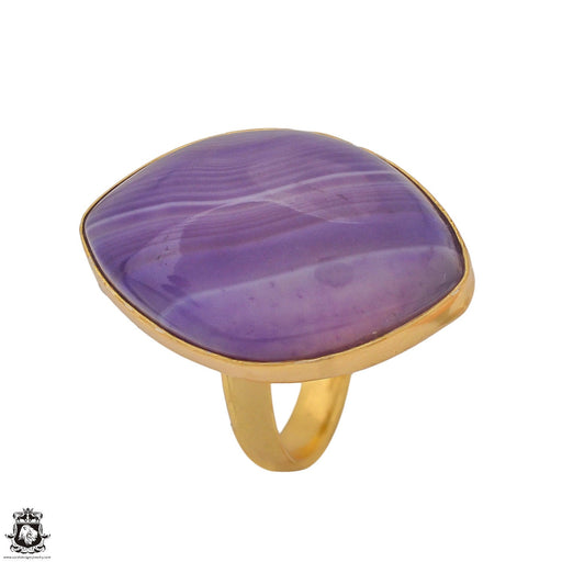 Size 10.5 - Size 12 Adjustable Purple Banded Agate 24K Gold Plated Ring GPR1174