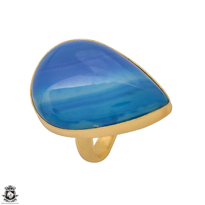 Size 7.5 - Size 9 Adjustable Blue Banded Agate 24K Gold Plated Ring GPR1175