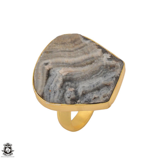 Size 9.5 - Size 11 Adjustable Desert Druzy 24K Gold Plated Ring GPR1192
