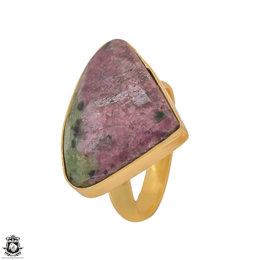 Size 8.5 - Size 10 Adjustable Ruby Zoisite 24K Gold Plated Ring GPR1215