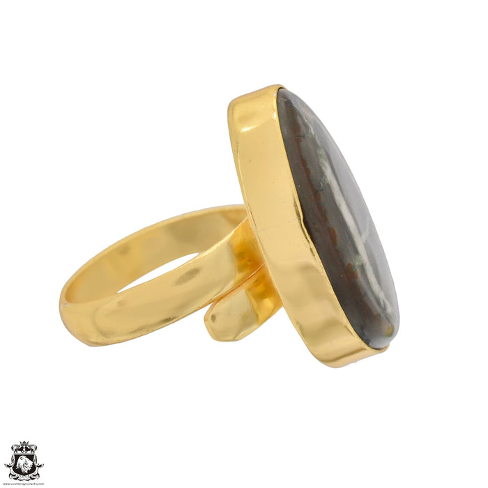 Size 8.5 - Size 10 Adjustable Septarian Nodule 24K Gold Plated Ring GPR1228