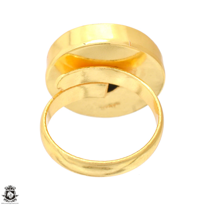 Size 9.5 - Size 11 Adjustable Septarian Nodule 24K Gold Plated Ring GPR1232