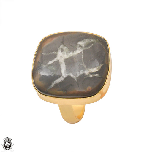 Size 9.5 - Size 11 Adjustable Septarian Nodule 24K Gold Plated Ring GPR1236