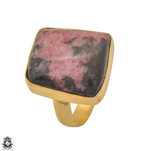 Size 9.5 - Size 11 Adjustable Rhodonite 24K Gold Plated Ring GPR1242