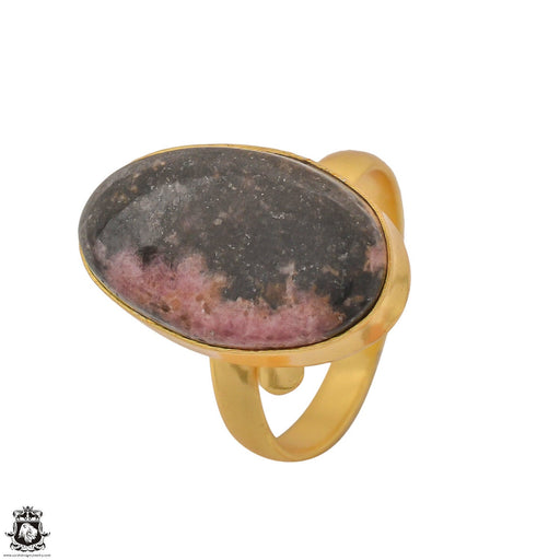 Size 10.5 - Size 12 Adjustable Rhodonite 24K Gold Plated Ring GPR1245