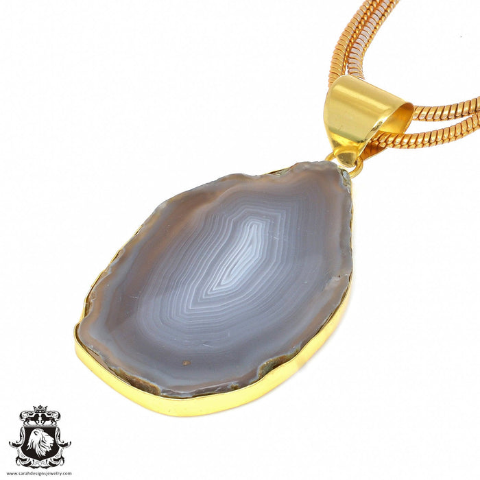 Agate Stalactite 24K Gold Plated Pendant 3mm Snake Chain GPH32