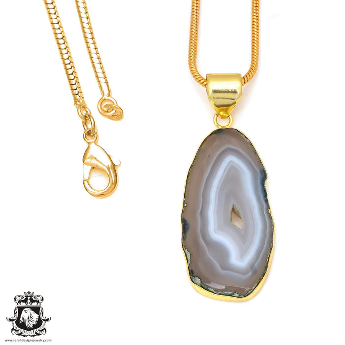 Agate Stalactite 24K Gold Plated Pendant 3mm Snake Chain GPH35
