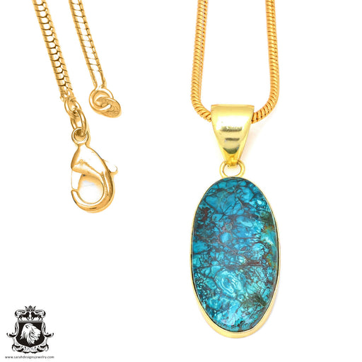 Chrysocolla 24K Gold Plated Pendant 3mm Snake Chain GPH71