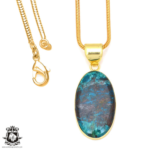 Chrysocolla 24K Gold Plated Pendant 3mm Snake Chain GPH72