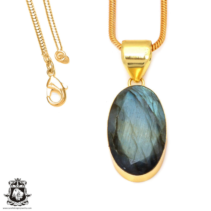 Faceted Labradorite 24K Gold Plated Pendant 3mm Snake Chain GPH116