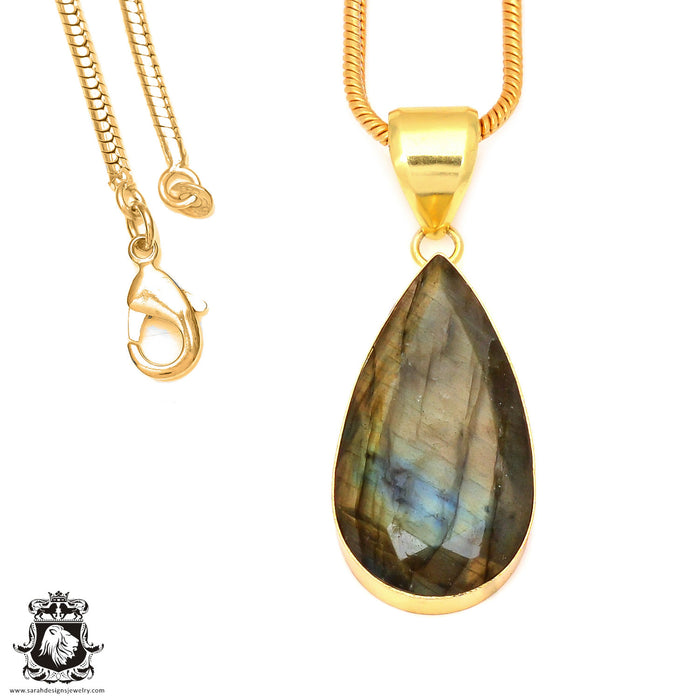 Faceted Labradorite 24K Gold Plated Pendant 3mm Snake Chain GPH124