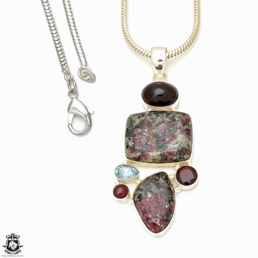 Eudialyte Pendant 4mm Snake Chain P7693