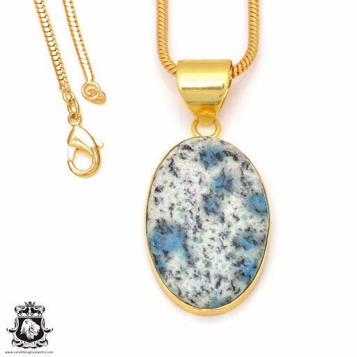 K2 Jasper 24K Gold Plated Pendant 3mm Snake Chain GPH142