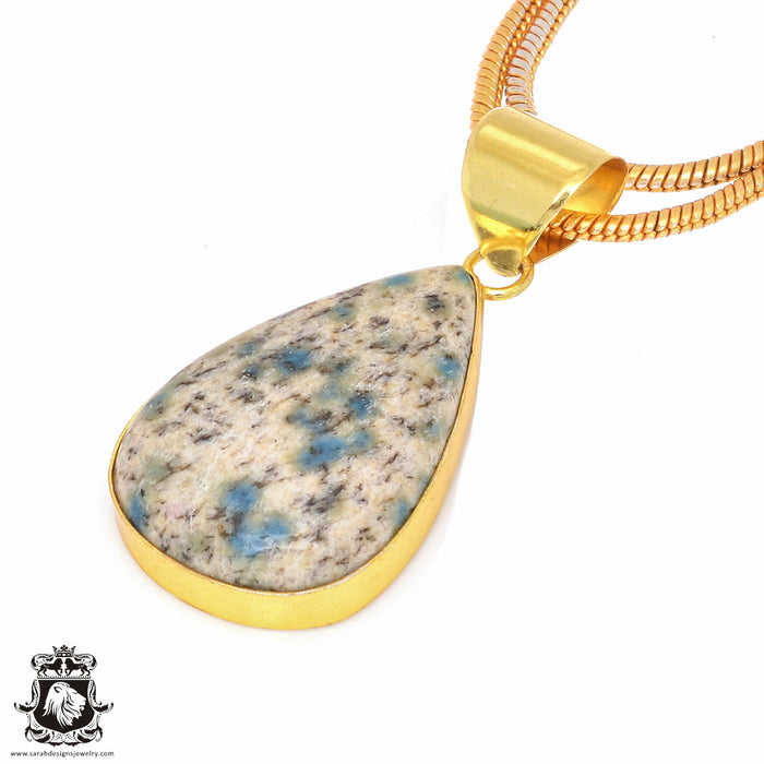 K2 Jasper 24K Gold Plated Pendant 3mm Snake Chain GPH145