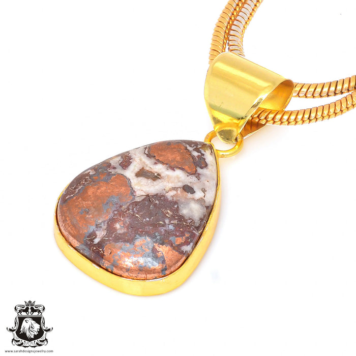 Pyritized Crazy lace Agate 24K Gold Plated Pendant 3mm Snake Chain GPH180
