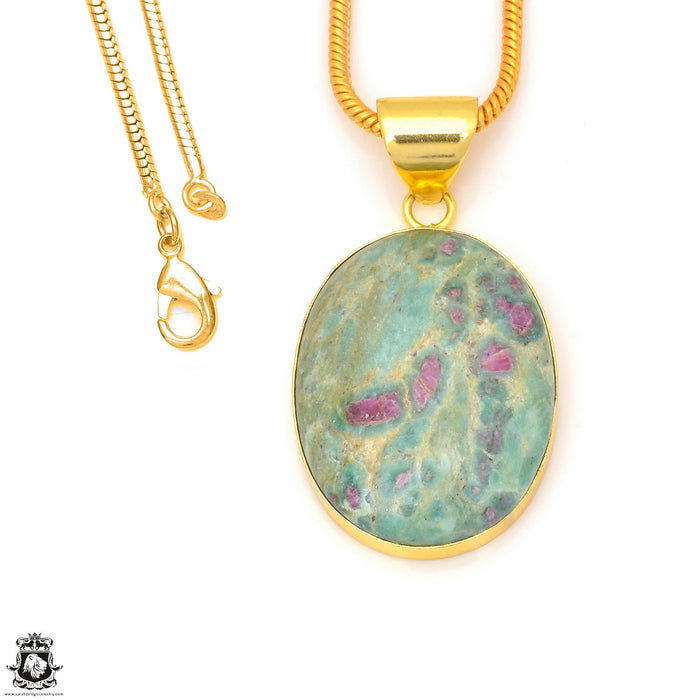 Ruby in Fuchsite 24K Gold Plated Pendant 3mm Snake Chain GPH238