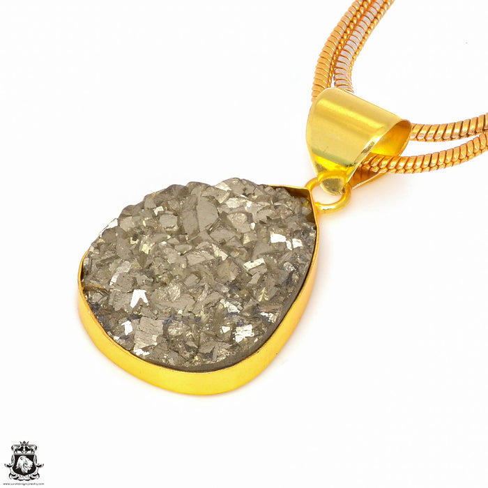 Pyrite 24K Gold Plated Pendant 3mm Snake Chain GPH244