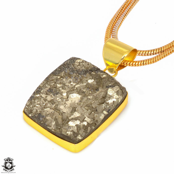 Pyrite 24K Gold Plated Pendant 3mm Snake Chain GPH245