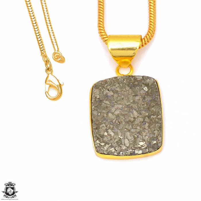 Pyrite 24K Gold Plated Pendant 3mm Snake Chain GPH246