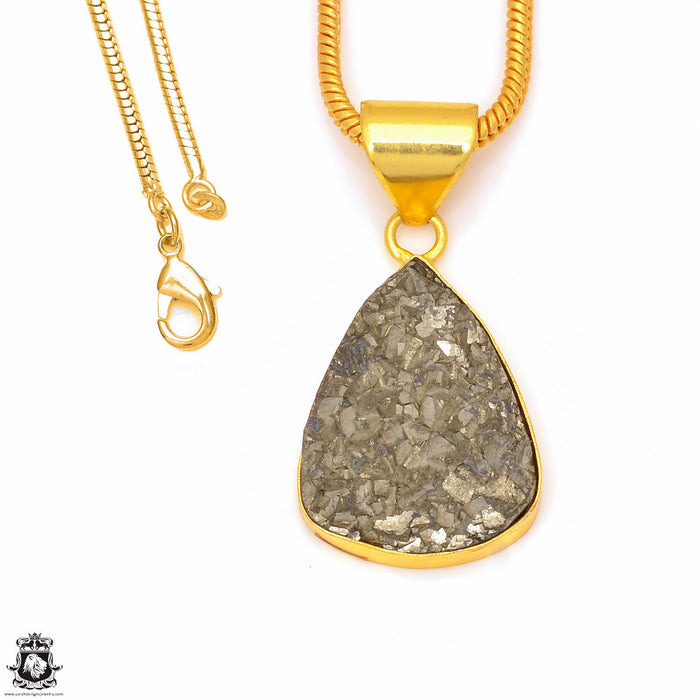 Pyrite 24K Gold Plated Pendant 3mm Snake Chain GPH254
