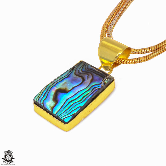 Abalone Shell 24K Gold Plated Pendant 3mm Snake Chain GPH256