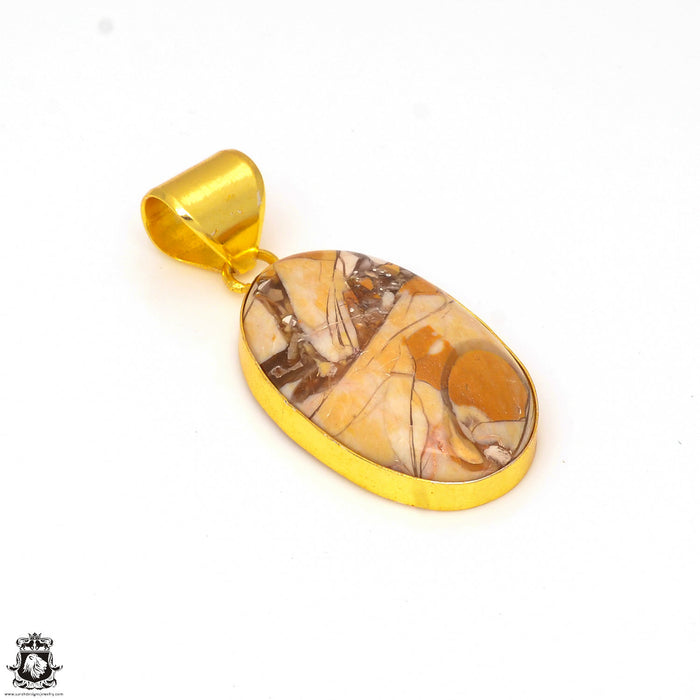 Brecciated Mookaite 24K Gold Plated Pendant 3mm Snake Chain GPH304