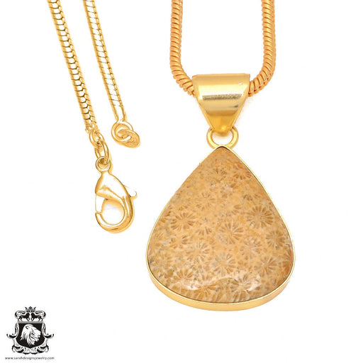 Fossilized Coral 24K Gold Plated Pendant 3mm Snake Chain GPH320