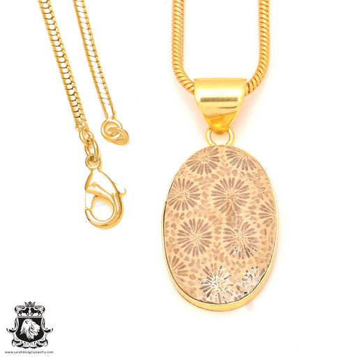 Fossilized Coral 24K Gold Plated Pendant 3mm Snake Chain GPH325