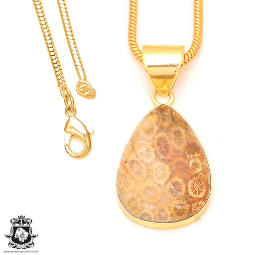 Fossilized Coral 24K Gold Plated Pendant 3mm Snake Chain GPH327