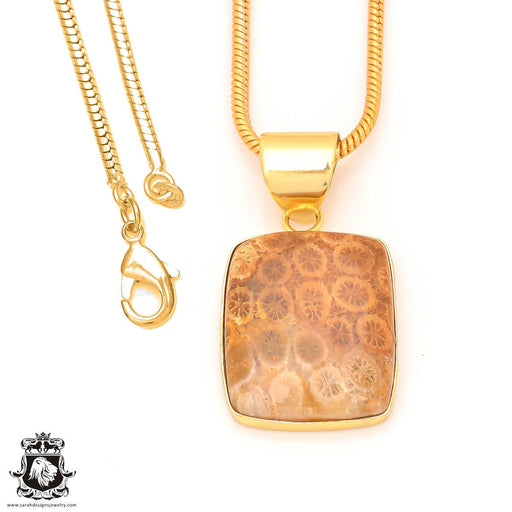 Fossilized Coral 24K Gold Plated Pendant 3mm Snake Chain GPH328