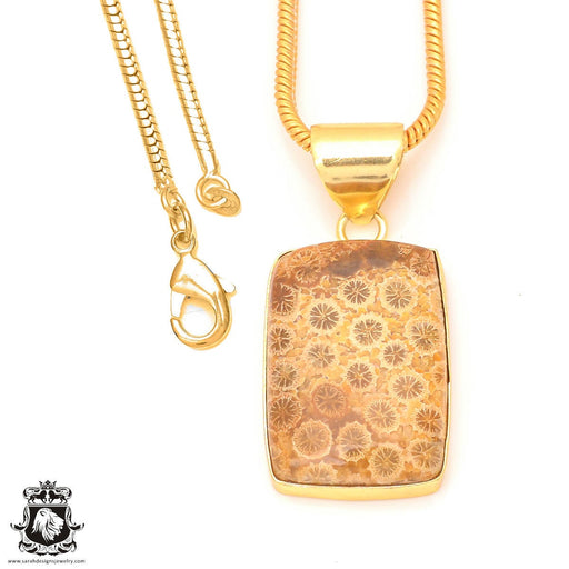 Fossilized Coral 24K Gold Plated Pendant 3mm Snake Chain GPH330