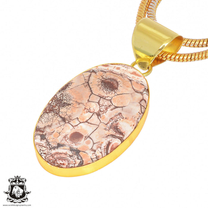 Bird Eye Jasper 24K Gold Plated Pendant 3mm Snake Chain GPH395